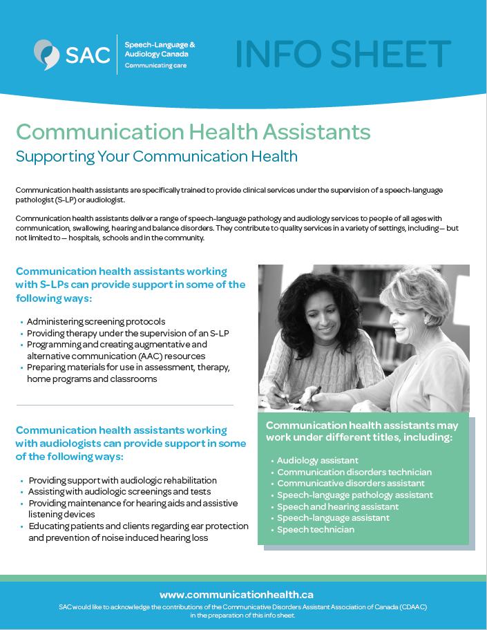 Communication health assistant info sheet